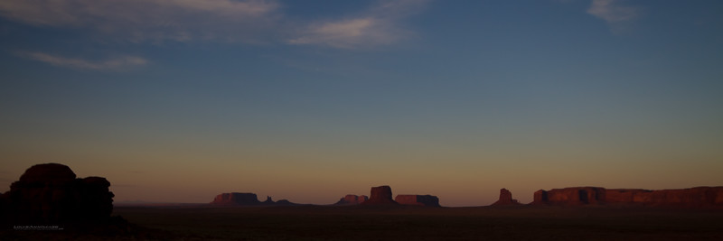 "The last red colors of dusk settle on the western faces of the Monuments.  The land of BIg Sky and Long Shadows.  Monument Valley, Navajo Tribal Park, AZ<br /> See More of Arizona & Utah - ""The Southwestern Sun' here: <a href=""http://smu.gs/RfQCCf"">http://smu.gs/RfQCCf</a>"