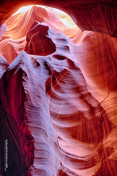 "The land of Red Dirt and the awesome slots - Upper and Lower Antelope Canyon.  A three exposure HDR.. <br /> See More of Arizona & Utah - ""The Southwestern Sun' here: <a href=""http://smu.gs/RfQCCf"">http://smu.gs/RfQCCf</a><br /> Thanks, HB"