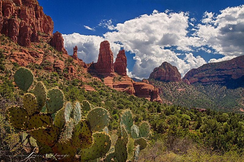 'Three Sisters of Sedona...'<br />  <br /> Three Exposure HDR - Canon 7D, 1/160 s, 1/80 s, 1/40 s @ f/13, ISO 100, EF24-70mm f/2.8L II USM @ 24mm. NIK HDR Efex Pro 2 - Custom Profile, NIK Viviza - Control Point adjustments for alternate blue renderings.  All Rights Reserved 2013 LouisAnnImage
