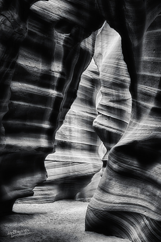 The land of Red Dirt and the awesome slots - Upper and Lower Antelope Canyon.  Black and White Three exposure HDR..
