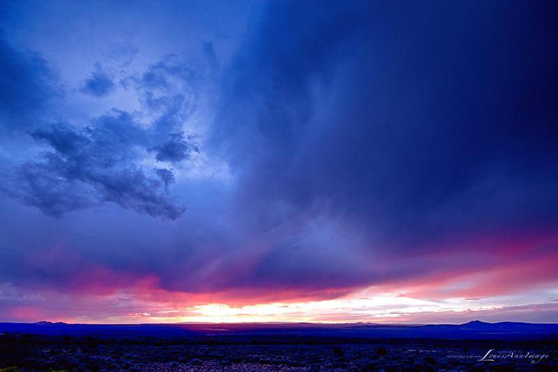 Sunset across the Rio Grande Gorge, near Taos, New Mexico