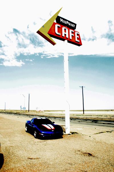 Reds Z06 - Midpoint Cafe - Adrian, Texas