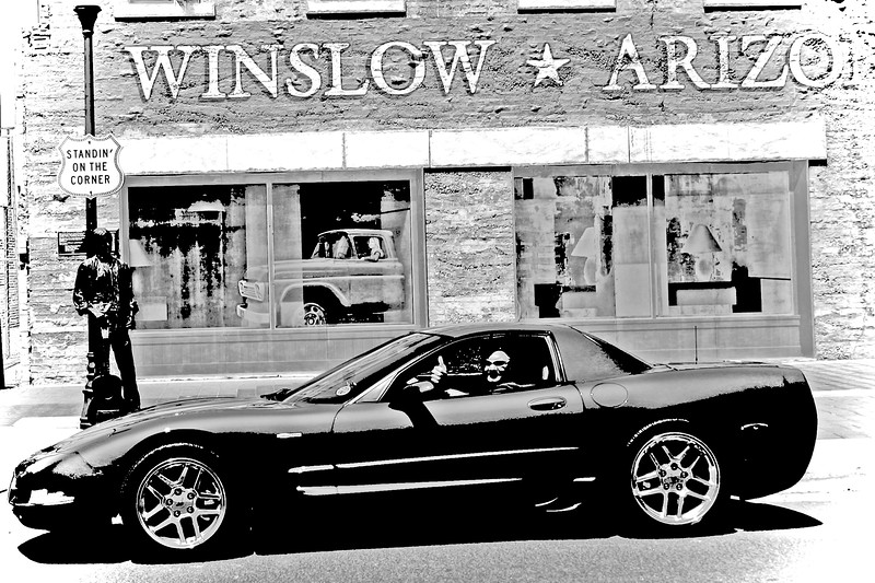 Reds Z06 at Standing on the Corner Park - Route 66 - Winslow, Arizona