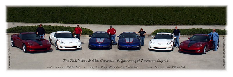 This Image was featured in Corvette Enthusiast Magazine - August, 2010 - One of a collection of images captured at a Gathering of American Legends - A shoot we organized for six special Z06's -  Spring, 2010. Corvette Club of Orlando - There's Red, 3rd from the right with her Z06.