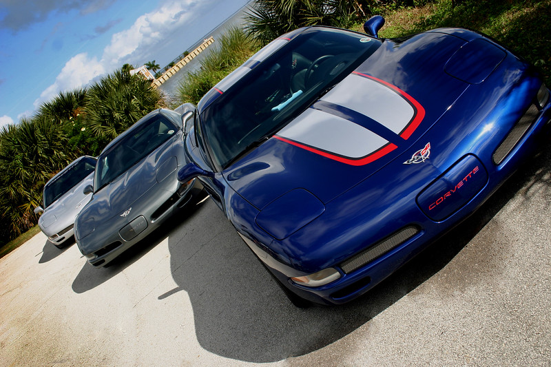 Our Corvettes - '99 Sebring Silver Six-Speed Coupe, Son John's '03 Spiral Gray Six-Speed Coupe and the '04 Commemorative Edition Z06