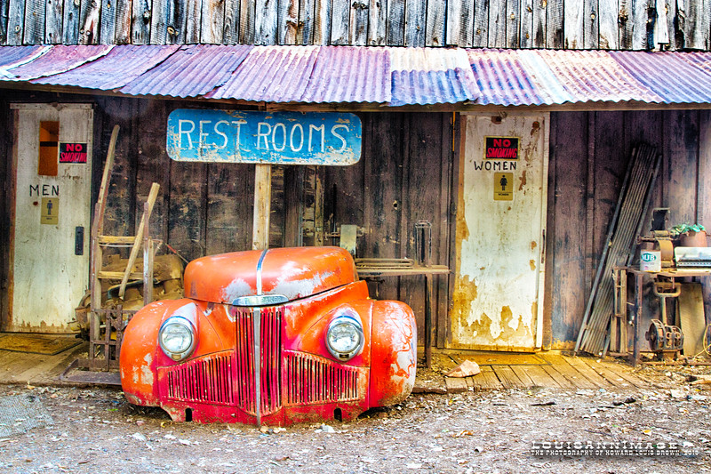'Just go over behind the Studebaker...'<br /> All that's left of a '41 Studebaker guards the facilities... Gold King Mine & Ghost Town, Jerome, AZ - Canon 7D, EF24-70mm f/2.8L II USM @ f/9.0 @ 24mm, ISO 400, 1/13 s, PS5, NIK HDR Efex Pro 2-Single Image Tone Mapping -custom profile.