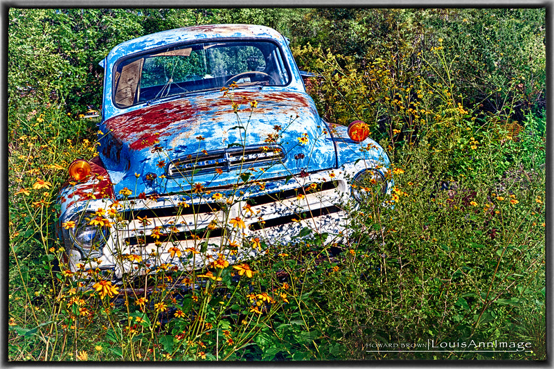 Baby Blue Stude Motif #2 From Don King's Collection of Relics and Rust, Gold King Mine & Ghost Town, Jerome, Arizona - Three Exposure HDR Set - Canon 7D, EF24-70mm f/2.8L II USM @ f/9.0, 24mm, ISO 200, 1/1600 s, 1/800 s, 1/400 s