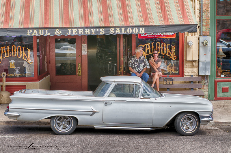 'Bird Shot...' - Well, the gal sitting on the bench behind this '60 El Camino was not happy with my photographic playfulness...  So what. Downtown Jerome, Arizona.