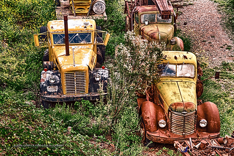 Rusty Traffic Jam...<br /> From Don King's Collection of Relics and Rust, Gold King Mine & Ghost Town, Jerome, Arizona - Three Exposure HDR Set - Canon 7D, EF24-70mm f/2.8L II USM @ f/9.0, 70mm, ISO 200, 1/1600 s, 1/800 s, 1/400 s