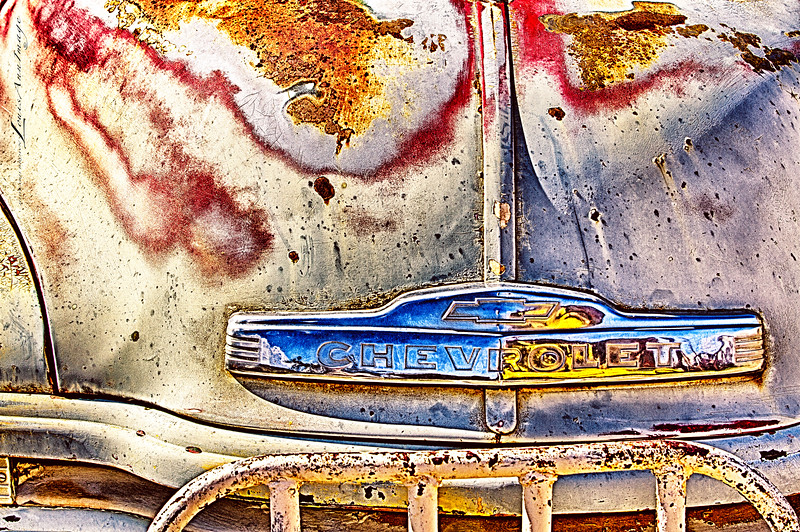 Blue Chevy...<br /> Gold King Mine & Ghost Town, Jerome, Arizona. More of Don Robertson's collection of rusty iron. <br /> Three exposure HDR set