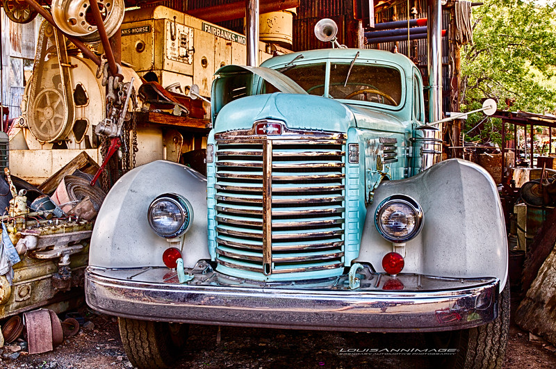 'Dream Garage...'<br /> 1947 International Harvester, Gold King Mine & Ghost Town, Jerome, AZ. Three Exposure HDR