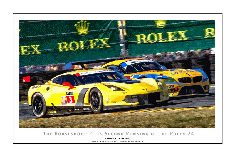 """The Horseshoe"" (Poster Format) <br /> Corvette Racing's #3 C7.R rounds the International Horseshoe turn on the infield, Inside BMW Competition - The 52nd running of the Rolex 24, Daytona International Speedway - January 25, 2014"
