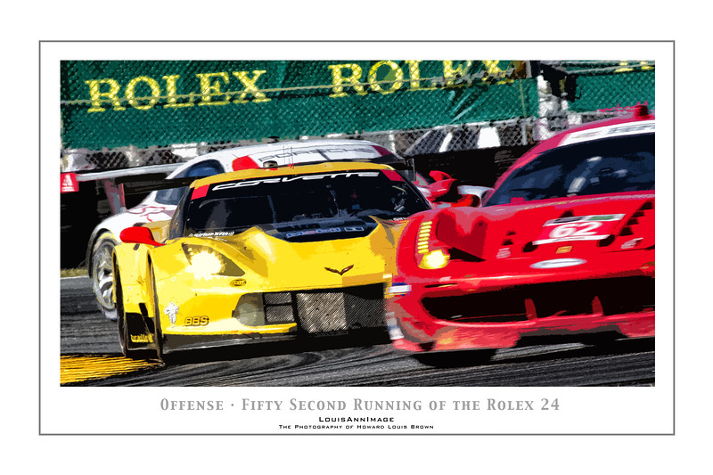 """""""Offense"""" (Poster Format) <br /> Corvette Racing's #4 C7.R Fighting for position between Porsche and Ferrari competition - The 52nd running of the Rolex 24, Daytona International Speedway - January 25, 2014"""