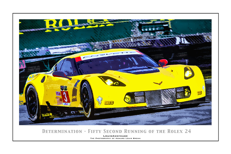 """""""Determination"""" (Poster Format)<br /> Corvette Racing's #3 C7.R rounds the International Horseshoe turn on the infield - The 52nd running of the Rolex 24, Daytona International Speedway - January 25, 2014"""
