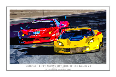 """Defense"" (Poster Format) Corvette Racing's #4 C7.R charges out of the infield, defending position against Ferrari onto NASCAR turn #1 - The 52nd running of the Rolex 24, Daytona International Speedway - January 25, 2014"