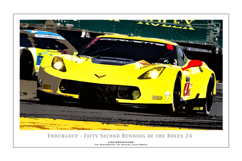 """Endurance"" (Poster Format) <br /> Corvette Racing's #4 C7.R accelerates  out of the International Horseshoe on the infield, fighting into the 2nd hour - with 22 more to go.  The #4 would run on to a 5th place finish In-Class the following day -  The 52nd running of the Rolex 24, Daytona International Speedway - January 25, 2014"