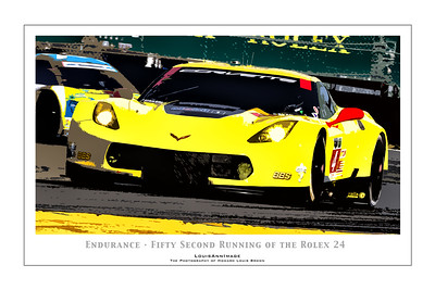 """Endurance"" (Poster Format)  Corvette Racing's #4 C7.R accelerates  out of the International Horseshoe on the infield, fighting into the 2nd hour - with 22 more to go.  The #4 would run on to a 5th place finish In-Class the following day -  The 52nd running of the Rolex 24, Daytona International Speedway - January 25, 2014"