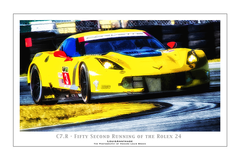 """C7.R"" (Poster Format) <br /> Corvette Racing's #3 C7.R rounds the International Horseshoe turn on the infield - The 52nd running of the Rolex 24, Daytona International Speedway - January 25, 2014"
