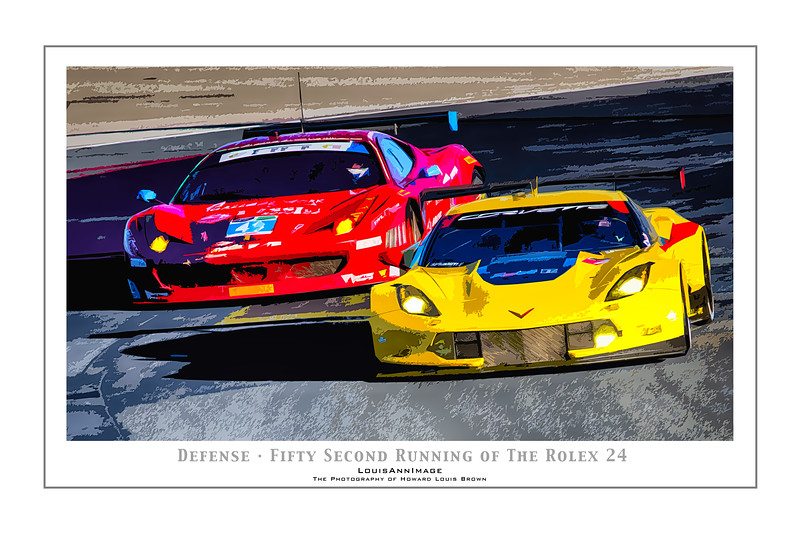 """""""Defense"""" (Poster Format)<br /> Corvette Racing's #4 C7.R charges out of the infield, defending position against Ferrari onto NASCAR turn #1 - The 52nd running of the Rolex 24, Daytona International Speedway - January 25, 2014"""
