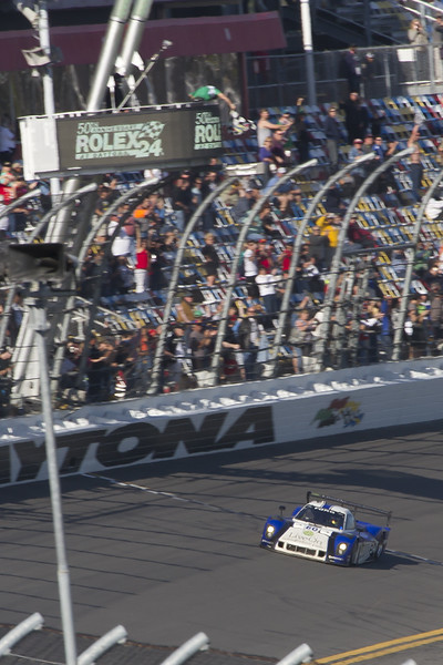 The #60 Ford Riley piloted by Nascar's A J Allmendinger finishes 1st, making 761 circuits of the Daytona International Speedway in 24 hours!