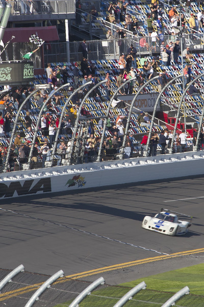 The #8 Ford Riley piloted by Alan McNish places 2nd, making 761 circuits of the Daytona International Speedway in 24 hours, finishing just 3/1000's second behind the winner.