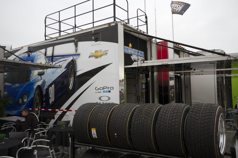 The Rolex Series Opener Week - Captured on Friday Jan 27. #90 Spirit of Daytona Garage. Hauler.  Rain Day. Daytona International Speedway -