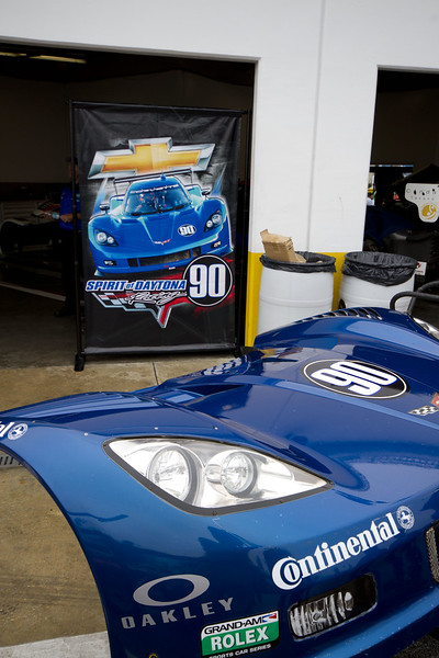 The Rolex Series Opener Week - Captured on Friday Jan 27. #90 Spirit of Daytona Garage. Rain Day. Daytona International Speedway -