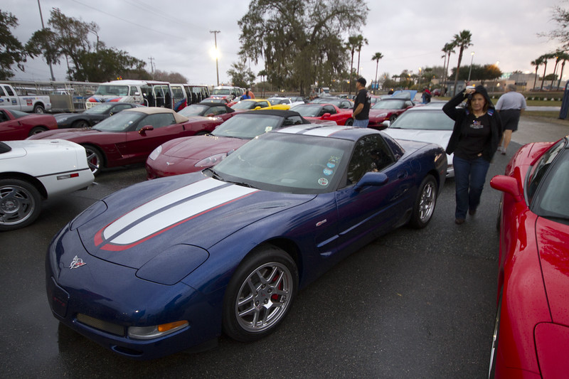 Red awaiting the signal to climb aboard and roll onto the super speedway for a Corvette only parade lap.  The Rolex Series Opener Week - Captured on Friday Jan 27.  Rainy Day. Daytona International Speedway -
