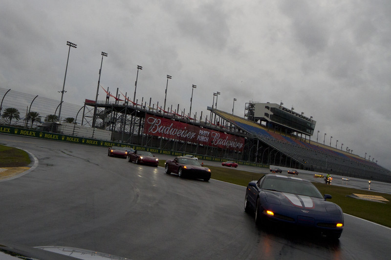 Red enters 'the bus stop' chicane on the super stretch, closing in on my '99. Corvette Parade Laps - The Rolex Series Opener Week - Captured on Friday Jan 27. Rain Day. Daytona International Speedway -