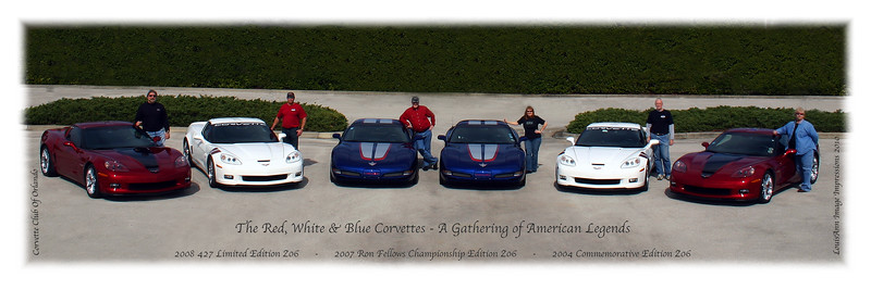 "Featured in Corvette Enthusiast Magazine - August 2010 - Here's the first ""teaser"" image.  As you all will recall the background and the parking lot were really busy with unwanted distraction - It takes me forever to rid a good lineup of all that crap..  This image is full size at 18x6 inches.  Although I got almost 250 shots off, there will be no more than a dozen images we will publish if lucky.."