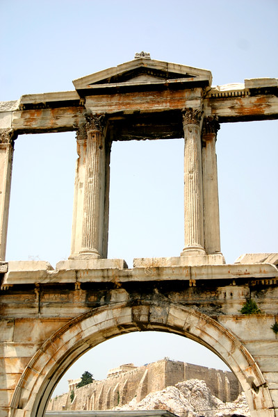 Athens - The Arch of Hadrian is a monumental gateway resembling – in some respects - a Roman triumphal arch. Erected in 132 AD, It honored Hadrian as Roman Patrian Emperor. It stands on the edge of the forum of the Temple of Zeus. The Acropolis can be viewed directly through the arch,