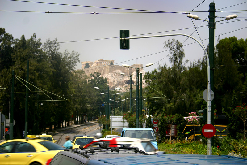 Athens Street Scene - Acropolis in distance.