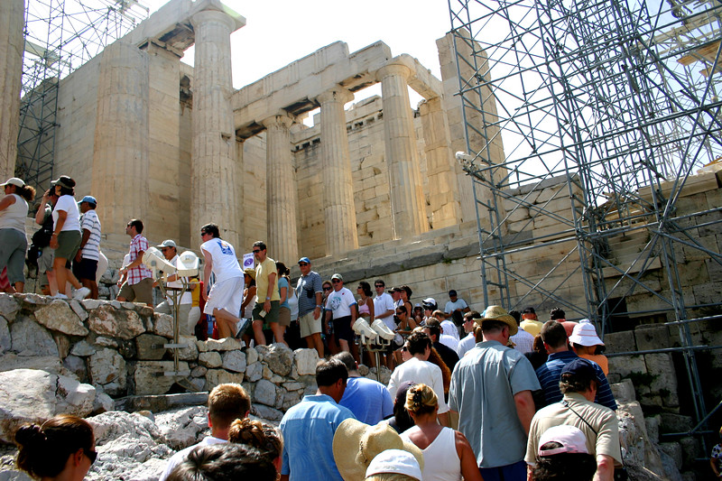 Acropolis - Restoration if full swing, visitors await entry.