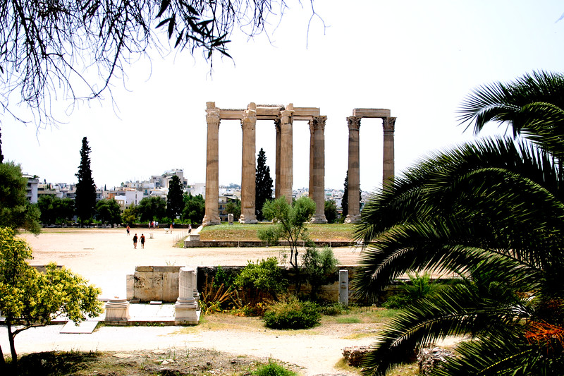 Athens - The Temple of Olympian Zeus (Olympeion) was an enormous structure, the largest temple in Greece, exceeding even the Parthenon in size. Now only 15 columns remain.