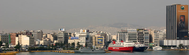 Port of Piraeus - Acropolis on horizon - Athens, Greece