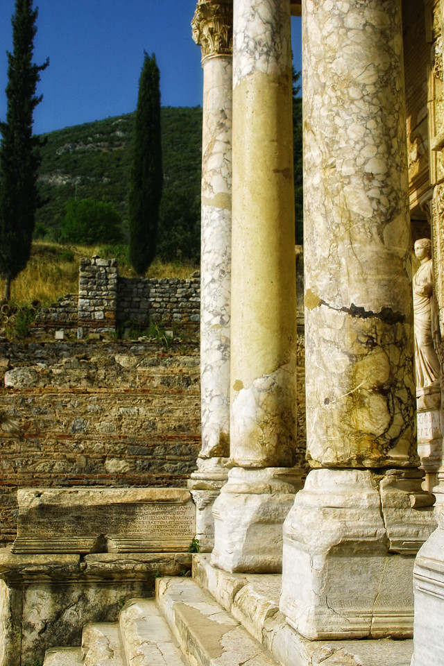 Side view, Portico on the Facade, Library of Celcus - Ephesus was an ancient Roman and Greek city on the west coast of Anatolia, near present-day Selçuk, Izmir Province, Turkey.
