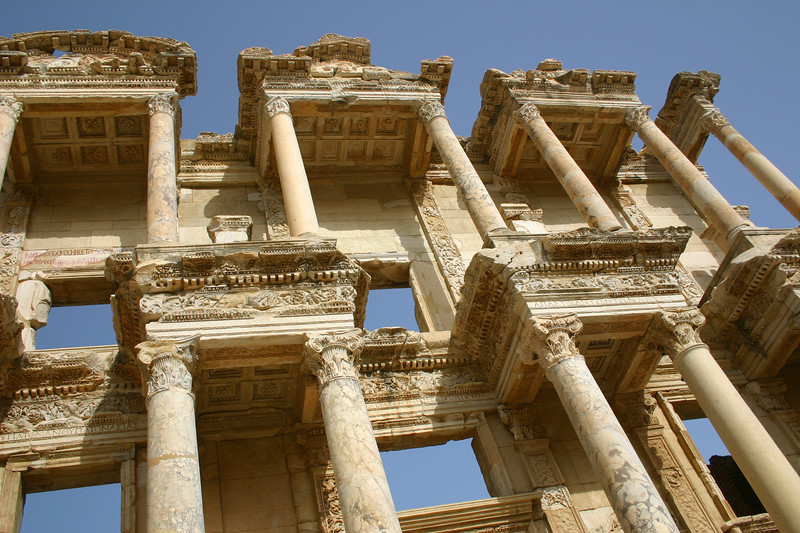 Facade - The Library of Celcus - Ephesus was an ancient Roman and Greek city on the west coast of Anatolia, near present-day Selçuk, Izmir Province, Turkey.
