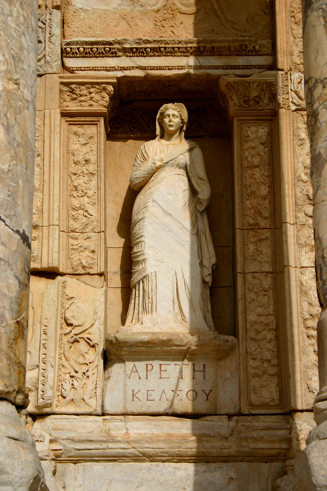 Statuary in the Facade - Library of Celcus - Ephesus was an ancient Roman and Greek city on the west coast of Anatolia, near present-day Selçuk, Izmir Province, Turkey.