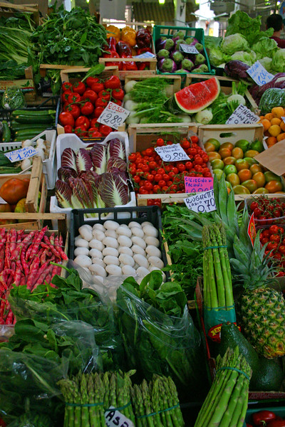 The marvelous sites and smells of a market, in Rome just outside the Vatican City walls.