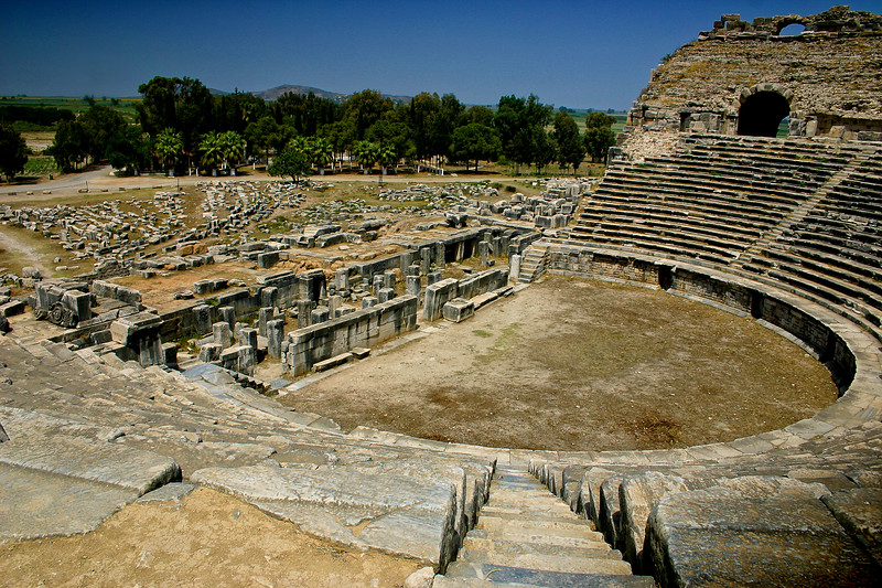 The ruins of the Theater of Miletus, Turkey