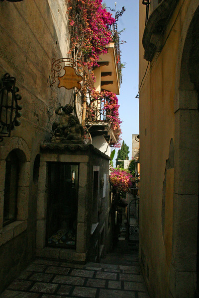 Alleyway - A mountainside city set intentionally on the cliffs to allow its inhabitants to defend themselves from ancient invaders, the streets of Taormina are as picturesque as any in Europe.