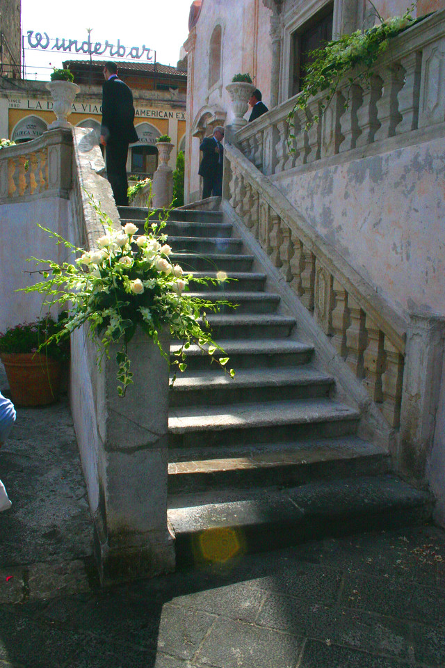 Steps to a Wedding - A mountainside city set intentionally on the cliffs to allow its inhabitants to defend themselves from ancient invaders, the streets of Taormina are as picturesque as any in Europe.