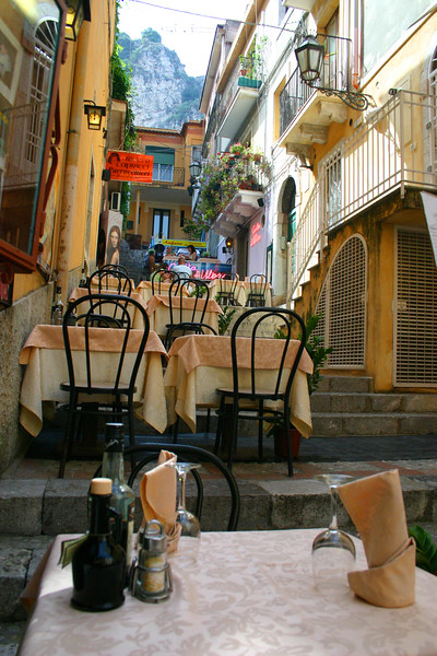 Up the Stairs Cafe - A mountainside city set intentionally on the cliffs to allow its inhabitants to defend themselves from ancient invaders, the streets of Taormina are as picturesque as any in Europe.