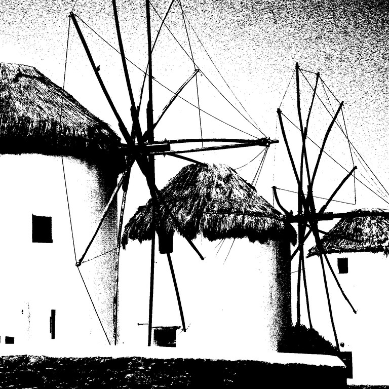 Windmills - Isle of Mykonos Mykonos at noon, a palate of color and contrasts. - This seaside village sports dozens of small churches with redish brown domes, a quaint harbour where tiny boats rest at anchor and pink pelicans roam the narrow alleyways.