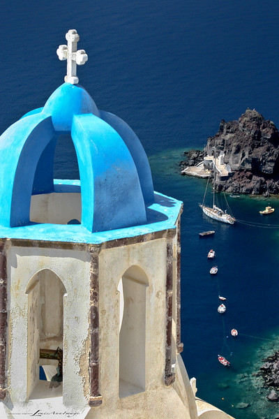The Bell Tower of Oia...<br /> Yes, one of many blue-domed towers on Santorini where bells ring out daily - but this is my favorite.