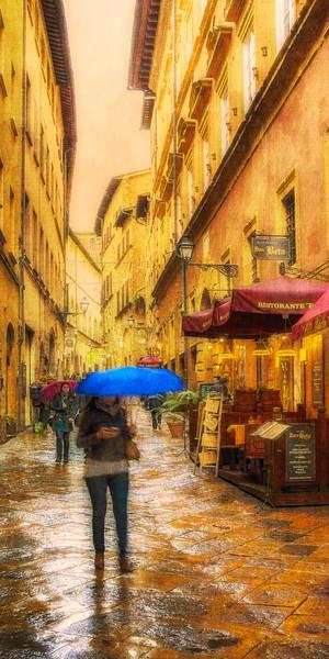 Blue Umbrella - Volterra, Tuscany, Italy