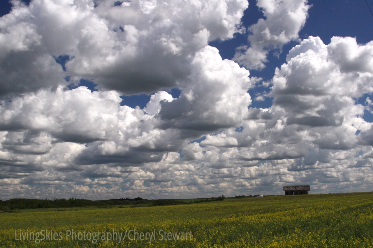 Clouds over the old school, Kamsack Saskatchewan Canada