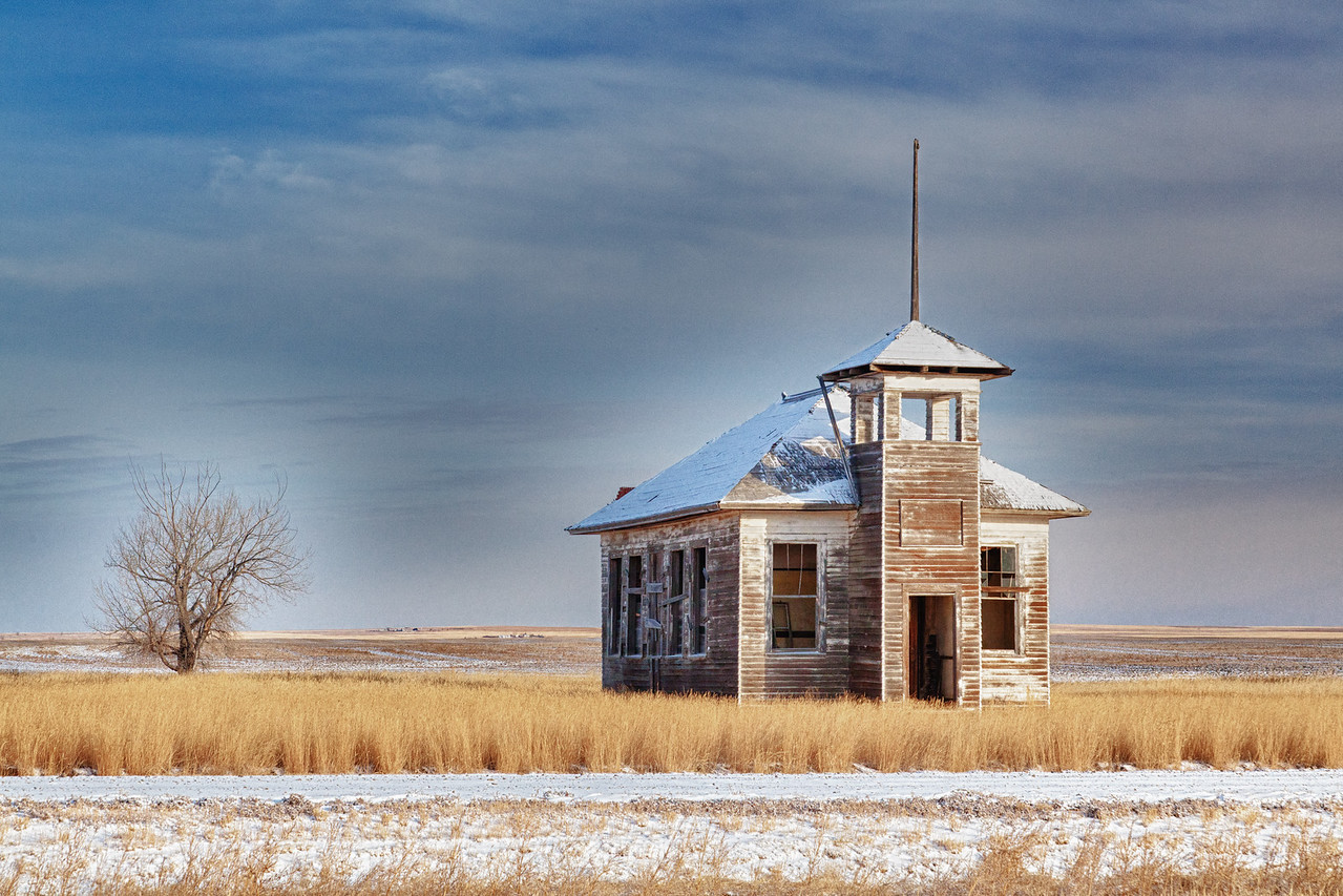 Old schoolhouse in new snow