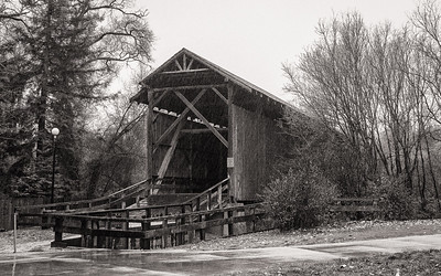 Covered Bridge in Rain