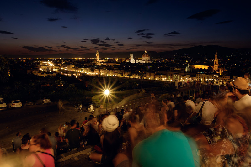 People Observing Cathedral of Santa Maria del Fiore (Duomo), at Piazzale Michelangelo, Firenze, Italy